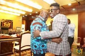 Shatta Wale and President Akufo-Addo when the musician visited the jubilee house in 2017