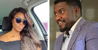 John Dumelo (r) says he's ready to convince Yvonne Nelson (l) to support President Mahama.