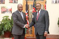 President of Kenya, Uhuru Kenyatta[R] with Mahama