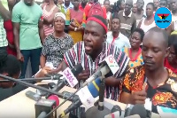 Aggrieved members of the group at a press conference at Diabene Market Square in Takoradi