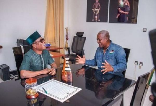 Nigerian actor, Osuofia interacts with President John Mahama.