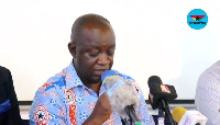 DCOP Dr. Ebenezer Ewusi-Emmim speaking at the press confab