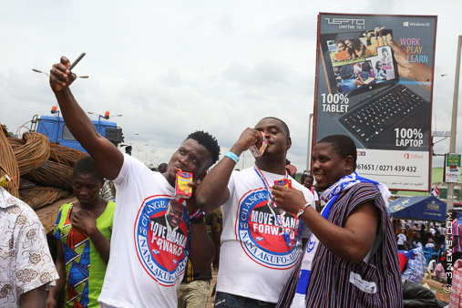 NPP supporters displaying colourful acts at the Accra International Trade Fair site