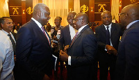 Dr Bawumia interacting with Dr. Eugene Owusu (left), Special Advisor to the President on SDGs