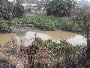The residents say some unknown people have begun to fill parts of the Odao river