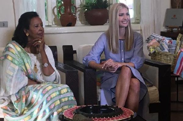 Ms Trump (R) with Sara Abera who founded clothing company Muya Ethiopia 16 years ago