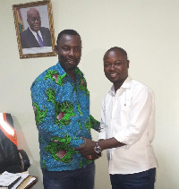 The newly-elected NPP Volta Regional Organiser exchanges pleasantries with his 'strongest' contender