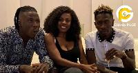 Stonebwoy, Nana Aba Anamoah and Shatta Wale during the unity talk