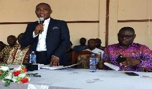 Mr George Mireku Duker, Member of Parliament for Tarkwa-Nsuaem (Left)