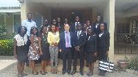 Some of the beneficiary students in a group photo with Lebanese Ambassador to Ghana, Ali Halabi