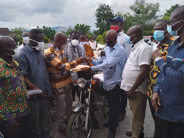 COCOBOD official's donates 35 motorbikes, megaphones for NPP campaign