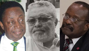 Dr Kwabena Duffour, JJ Rawlings and Kwesi Ahwoi