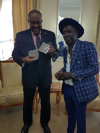 Shatta Wale with Hon. Victor Smith, Ghanaian High Commissioner to UK