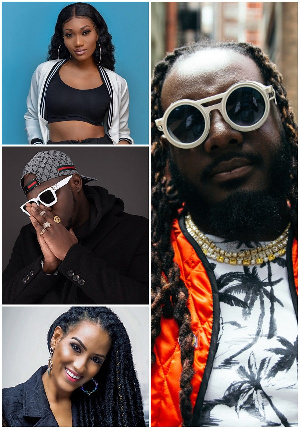 A grid of Wendy Shay, Medikal, Juliet Ibrahim and T-Pain