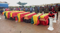Their caskets draped in national colours