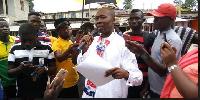 Joseph Apor Adjei addressing NPP supporters at the rally