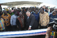 President Akufo-Addo on Wednesday visited the Tema Harbour to interact with officials of the GRA