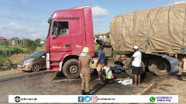 Two trucks crash on Nsawam-Accra highway