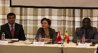 Nesrin Bayazit Ambassador of Turkey (middle) Sahim Sariyaka, (left) and Frederick Amoaku