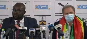 New Black Stars coach Milovan Rajevac and GFA President Kurt Okraku