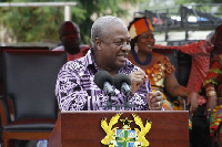 Mahama delivers a speech at the 2015 Agbleza Festival in Ziope, VR