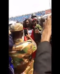 Jackie Appiah posing for pictures with fans at the inauguration of George Weah