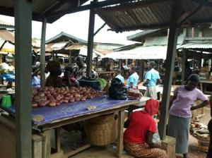 Traders at market center