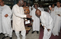 Nana Addo bows to former President Kufuor at a party event