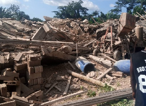 The church building has been reduced to a pile of rubble