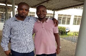 Godwin Edudzi Tamaklo and David Tamakloe expressing joy after he was granted bail