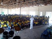 Mr. Avadetsi Emmanuel Richard engaging with students