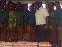Management of Darko Farms donate eggs to Prempeh College