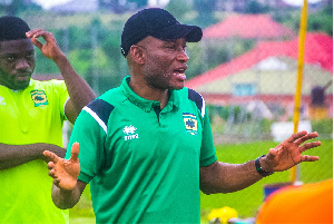 Kotoko's new coach Prosper Nerteh Ogum takes charge of his first training session