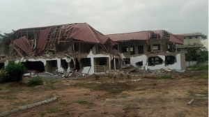 Armed men last Friday destroyed the uncompleted building