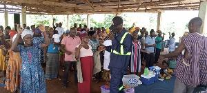 Church members receiving blessings