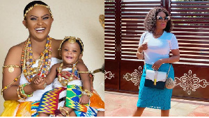 Nana Ama McBrown with her baby and Mzbel on the right