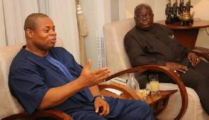 File: President Akufo-Addo looks on as Franklin Cudjoe makes a point