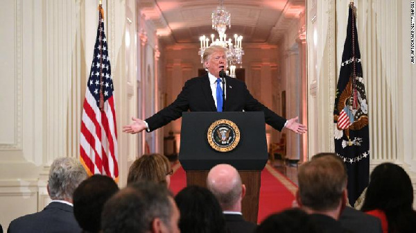 President Trump's treatment of the press at the news conference varied from one minute to the other