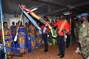 Officers parade during the induction service