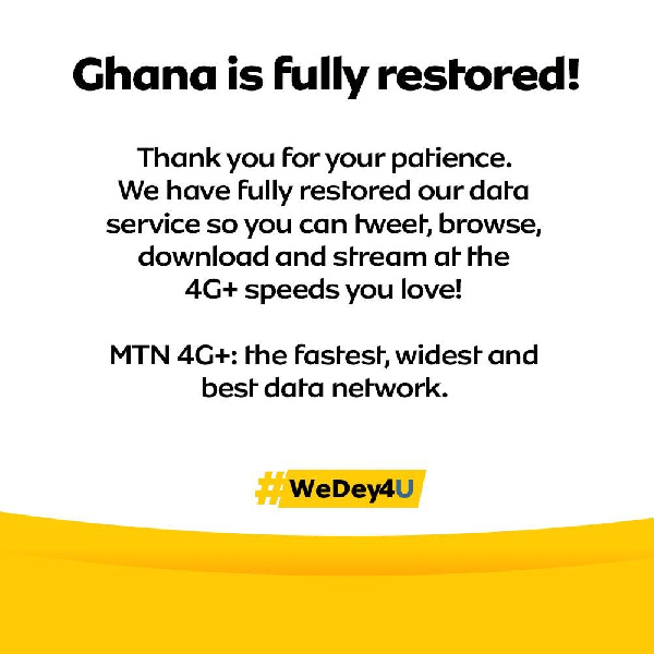 Our data services fully restored – MTN