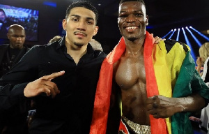 Richard Commey (right) will make his second title defence against Teofimo Lopez