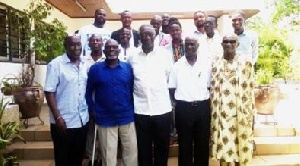 President Kuffour in a pose with the 1965 Afcon players
