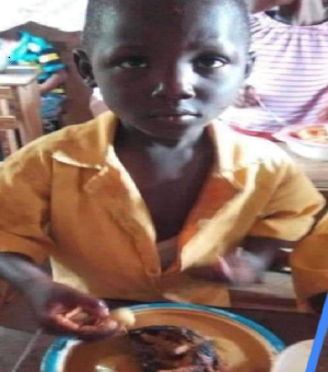 A picture of a boy eating fufu during 'Our day' went viral on social media