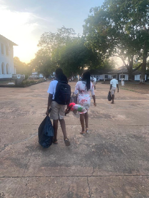 Oheneba Nkrabea is spotted with his mother at the Achimota School