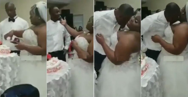 Bride puts cake between her breasts for groom to lick at their wedding