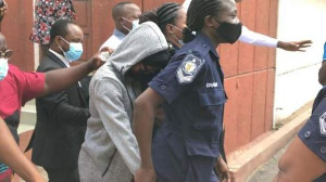 Akuapem Poloo leaving the court on Friday, April 16