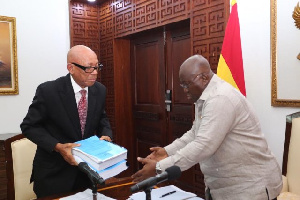 Justice Emile Short Presents Report To President Akufo Addo