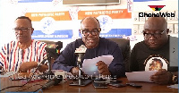 Former Attorney General, Ayikoi Otoo addressing a press conference in Accra