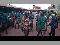Mad. Owusu-Banahene interacting with candidates