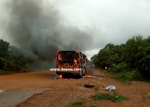 The driver and passengers were helpless as there was no fire extinguisher in the bus
